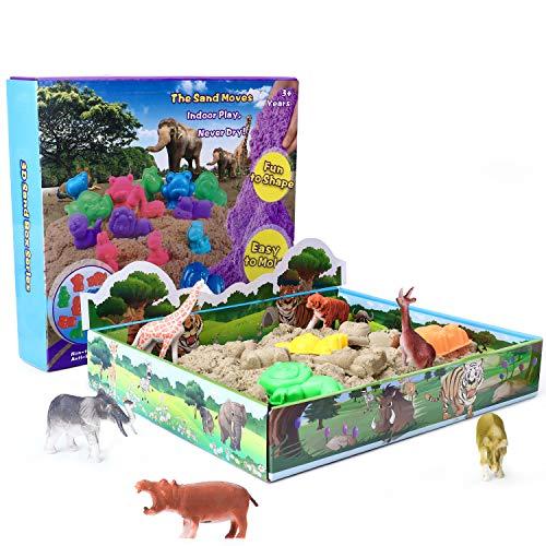 XDDIAS Magic Sand Set, 500g Play Sand mit 10 Sandformen & 12 Tierspielzeug - Kinetischer Sand Natürlichen Indoor Spielsand für Kinder