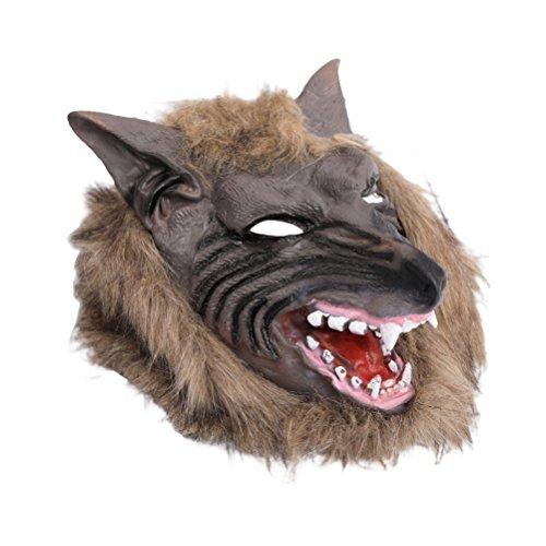 Amosfun Máscara de Halloween Terror Devil Fancy Dress Party Props Cubierta de la Cabeza del Lobo Disfraces de Halloween para Hombres y Mujeres 1 Pieza (Lobo Color Canela)