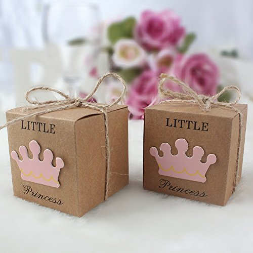 Veewon 50PCS Wedding Favor Box Piccolo Principe Rustico scatole di Carta Kraft Candy Dolce Regalo per Nozze Baby Shower Birthday Party Pink