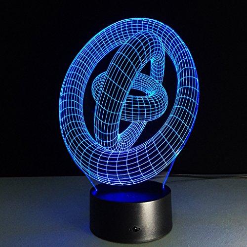 Illusion LED 3D Night Light Visualization Glow 7 Changement de Couleur USB Bouton Tactile Et Intelligent Télécommande Bureau Éclairage de Table Beau Cadeau Décorations de Bureau à Domicile Jouets (3 a