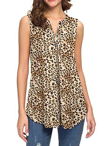 Neineiwu Women's Summer Sleeveless V Neck Casual Tank Tops Blouse Shirts (M, Leopard Yellow)
