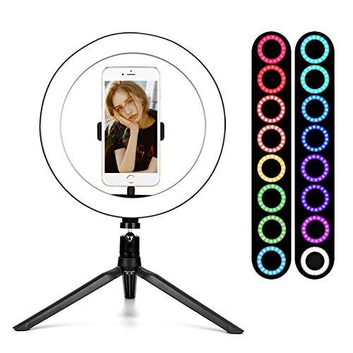 "BLOOMWIN Aro de Luz LED Regulable 10"" Anillo de Luz RGB 16 Colores para Fotografia con Trípode y Soporte para Teléfono Control Remoto para Móvil Youtube Disparo Selfie Video Maquillaje Vivo"