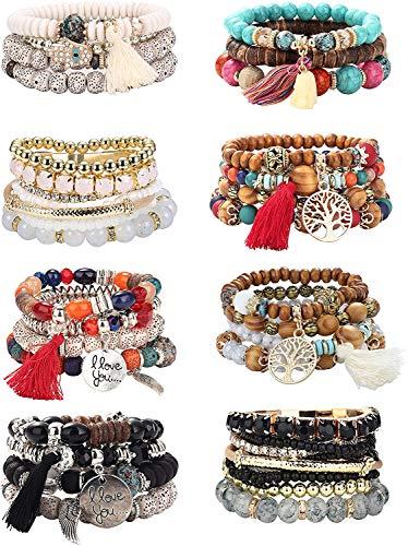 Adramata 8Sätze Böhmisches Perlen Stretch Armband für Frauen Mädchen Lebensbaum Boho Quaste Armband Set Perlenstrang Armreif Charm Multilayer Stapelbare Armbänder