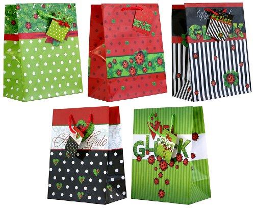 10 Geschenktüten Alles Gute Glück Marienkäfer Medium 23 x 18 x 10 cm Geschenktaschen aus Lackpapier Papier-Tragetasche 99-9017