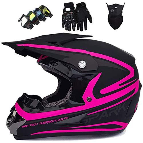 Casco de motocross para adultos con máscara, guantes, máscara, casco MTB cara completa para niños, equipo protección ciclismo para casco de motocicleta para scooter BMX Quad Enduro ATV, Morado Negro