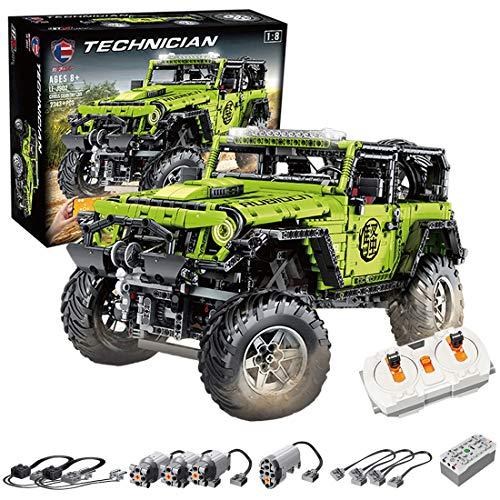 Haunen Technik Bausteine Auto Jeep Wrangler Adventurer Off-Road, 2343Teile 2.4G 1:8 Auto Mit Motor Bausteine Konstruktionsspielzeug Kompatibel mit Lego Technic
