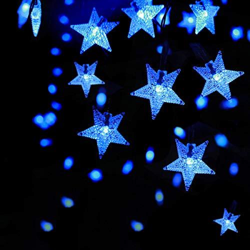 SEMILITS Outdoor Solar String Lights 30Ft 50LED Star Fairy String Lights for Room Decor Garden Christmas Decorative House Lights(Blue)