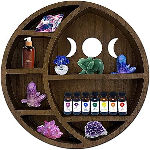 ASUARE Estante de madera con luna para cristales | estante flotante de luna | exhibición de aceites esenciales | estante de cristal | decoración para habitación, baño, sala de estar