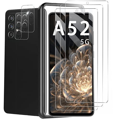 【5枚】T-LUCOOK For Galaxy A52 5G フィルム 【3枚】+レンズフィルム【2枚入り】SC-53B 日本旭硝子製 強化ガラス 液晶保護フィルム 硬度9H 指紋防止 透過率98% 对芯 FOR G-alaxy A52 5G ガラスフィルム 带位置決めツール