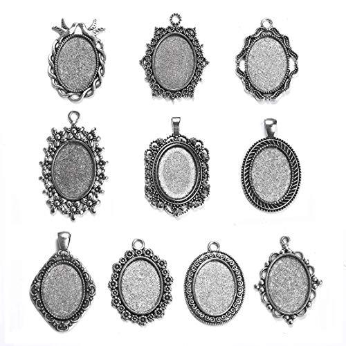 OBSEDE - Juego de 10 bandejas para colgante con forma de camafeo, para cabujones de 30 x 40 mm, Antique Silver-18*25mm