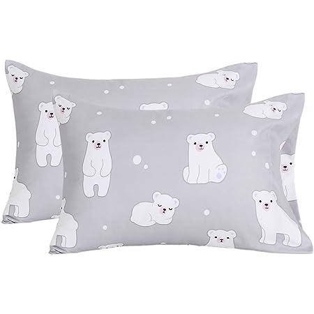 1 New Standard Size 100/% Cotton Handmade Pillowcase Smiling Polar Bears
