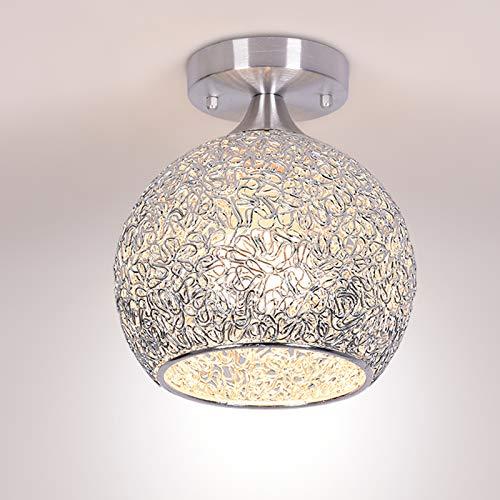 Yezytech Lámpara de techo moderna de techo, E27 LED lámpara de techo con pantalla de aluminio, lámpara colgante de color plata/dorado, para dormitorio, sala de estar y pasillo (bombilla no incluida)