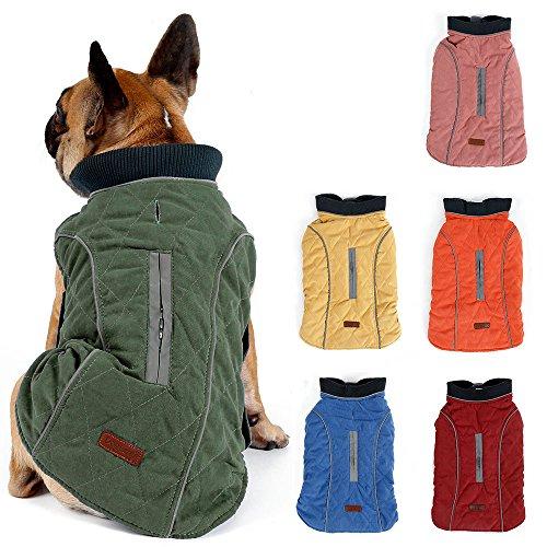 TFENG Reflektierend Hundejacke für Hunde, Hundemantel Warm gepolstert Puffer Weste Welpen Regenmantel mit Fleece (Grün, Größe 2XL)