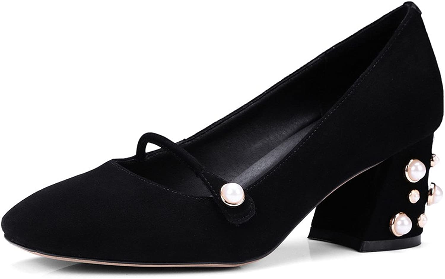 Nine Seven Suede Leather Women's Square Toe Chunky Heel Pearls Slip On Handmade Cute Pumps shoes