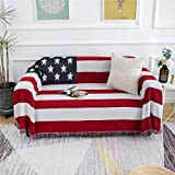 MayNest American Flag Throw Blanket Reversible Soft Woven Cotton Thick Large Tassels Rug Vintage USA Military United States Print Knit Tapestry Chair Recliner Loveseat Couch Sofa Cover (Large: 91x71)