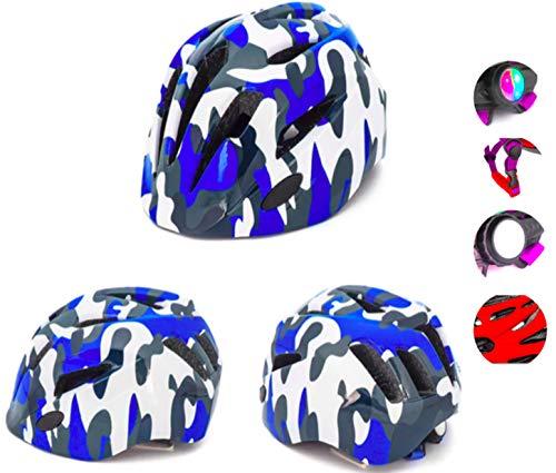 Crojuento Fahrradhelm für Kinder, 2 – 10 Jahre, Schutzhelm, Fahrradhelm, LED, Blinklicht, verstellbar, für Mädchen, Jungen, CE Schutz, Radfahren, Skate, Roller Multisport