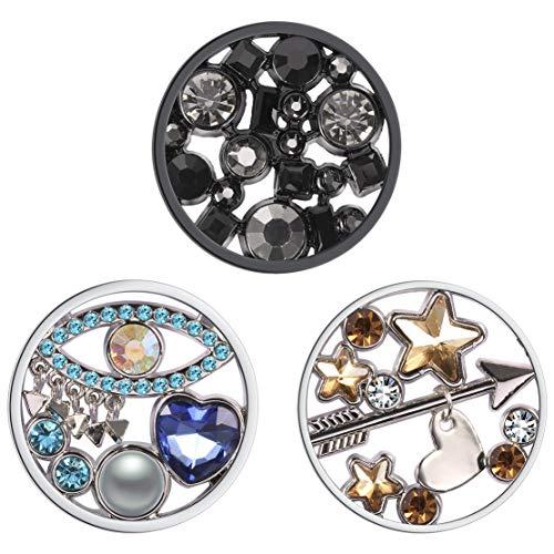 Meilanty Damen Halskette Anhänger 3 Coin 33mm für Münzfassungen Edelstahl Schmuckmünzensatz 3GP-0122