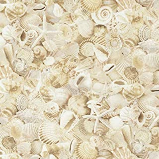 Timeless Treasures Beach Is My Happy Place Packed Seashells Natural Fabric Fabric by the Yard