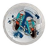 Gumshoes Sketch-01 - Tiradores de cajones y pomos de cristal de cristal de 3 cm (4 unidades)
