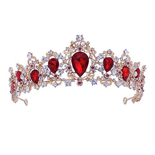 Frcolor Tiara Crown para mujer, coronas de diamantes de imitacin boda Tiaras coronas de vincha (roja)