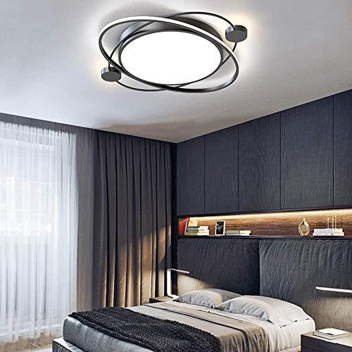 CHUIX Lámpara De 36W 63Cm Luz De Techo LED Regulable con Mando A Distancia del Techo De La Luz Blanca Moderno Dormitorio De La Lámpara De Pared del Anillo Lámparas Salón Estudio Balcón,Negro