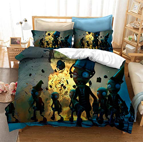 Enhome 3D Bedding Set - Printed Quilt Cover with Zipper Closure + Pillowcases, Microfiber Duvet Cover Set Easy Care for Children Teen Adult Single Double King Bed (Plants vs.Zombies 11,200x230cm)