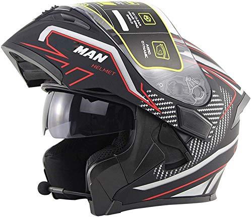 Bluetooth integrado modular de la motocicleta del tirón de frente casco de la moto Casco protector con doble visera DOT / ECE Aprobado for toda la cara del tirón encima del casco de cuatro estaciones