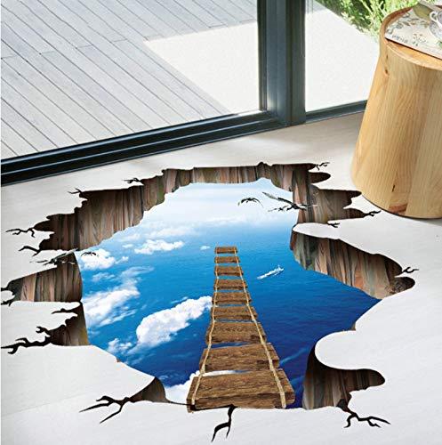Stil: C, große 3D Cosmic Space Wandaufkleber Galaxy Star Bridge Home Decoration für Kinderzimmer Boden Wohnzimmer Wandtattoos Home Decor 70 * 90Cm