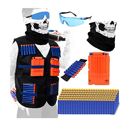 POKONBOY Tactical Vest Kits Compatible with Nerf Guns, 1 Pack N-Strike Elite Tactical Vest Jacket with 1 Wrist Band, 1 Quick Reload Clips, 1 Protective Glasses, 1 Face Mask and 90 Bullets for Kids Fun