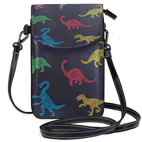 XCNGG Colorful Different Dinosaurs Silhouette Pattern Cell Phone Purse Wallet for Women Girl Small Crossbody Purse Bags