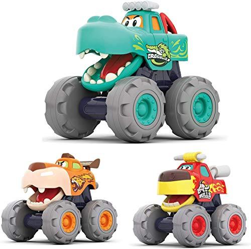 MOONTOY Monster Trucks Pull Back Vehicles Coche Juguetes Regalos para bebés y niños de 12 Meses en adelante