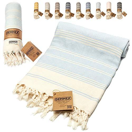 DEMMEX Toalla de algodón turco 100% orgánico y tinte orgánico prelavado XL Diamond Weave Peshtemal Manta para baño, playa, piscina, spa, gimnasio, 178 x 90 cm (azul bebé)