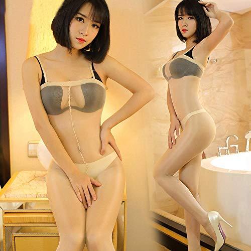SUNXC Sexy Women Maid Uniform,Medias de una Pieza Transparentes sexys para Mujer-Color_Talla única,Transparente con Tanga Ligas y Ligueros