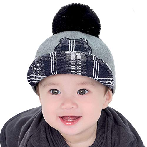 Yue Lian Kinderhut Herbst/Winter Schirmmütze mit Bommel Baseball Cap(Grau)