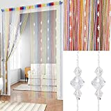 Crystal Beads String Tassel Curtain - Partition Door Curtain Beaded String Curtain Door Screen Panel Home Decor Divider Crystal Tassel Screen 90x200cm (color-3)