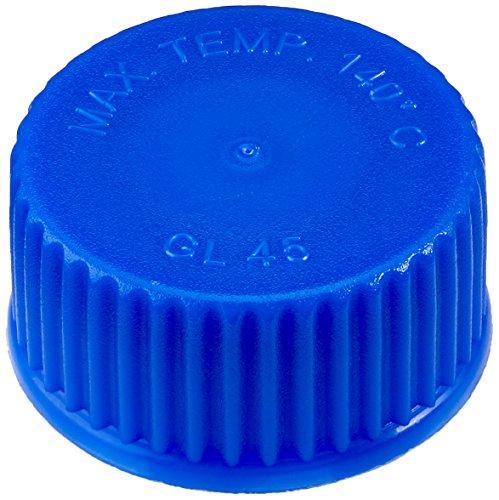 neoLab E-1433 ecoLab-Schraubkappen aus PPN blau, GL 45 (10-er Pack)