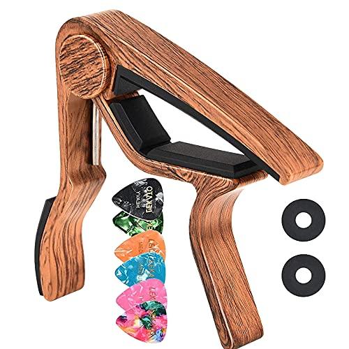 Lekato - Cejilla de madera para guitarra con 6 púas de guitarra,...