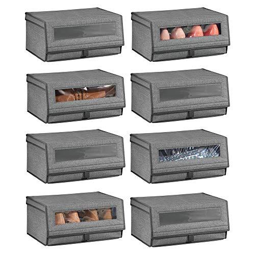 mDesign 8er-Set Schuhaufbewahrung aus Stoff – stapelbare Schuhbox mit Sichtfenster, Klettverschluss und Klappdeckel – Aufbewahrungsbox für den Schrank oder das Regal – dunkelgrau