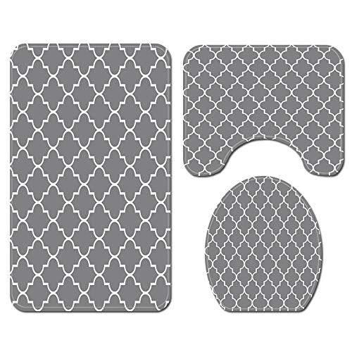 FENRIR 3 Stück rutschfeste Ständer Badematten Set, atmungsaktivem Memory-Schaum Bad-Teppiche weiches Wasser saugfähig Badezimmer Teppich