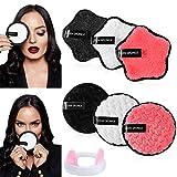 Almohadillas de Algodón Removedor de Maquillaje 6 Piezas Almohadillas Desmaquilladoras Limpieza del Rostro con Banda para la Cabeza para Mujeres Chicas