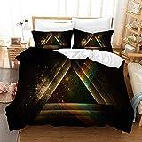 XGMSD - Juego de ropa de cama con cremallera, 100% poliéster, 3 piezas, incluye 2 almohadas, diseño de dibujos animados, color rosa, H, 140*210cm