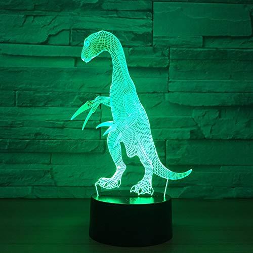 Dragón 3d Lámpara de dinosaurio Colorido Led Control visual Luz nocturna Interruptor táctil remoto Encantador 7 cambio de color Lámpara 3D