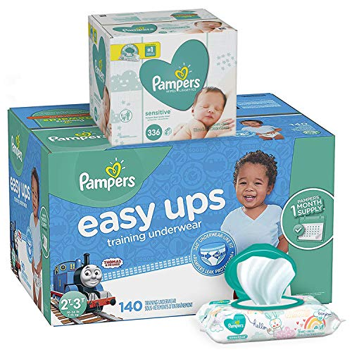 Pampers Bundle - Easy Ups Training Underwear Pull On Disposable Diapers for Boys, Size 4 (2T-3T), 140 Count, ONE MONTH SUPPLY with Baby Wipes Sensitive 6X Pop-Top Packs, 336 Count