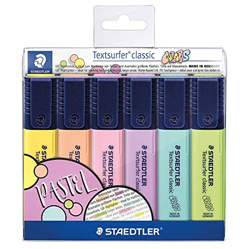 Staedtler 364 CWP6 Textsurfer classic, evidenziatore Pastell (alta qualità Made in Germany, con ampia memoria di inchiostro per una lunga capacità di marcatura, custodia con 6 colori, pastello)