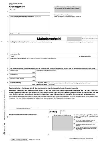 RNK 703 Antrag Mahn- und Vollstreckungsbescheid Arbeitsgericht - SD, 1x5 Blatt, DIN A4