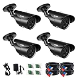 ZOSI 4 Pack 1080P HD 1920TVL HD-TVI Weatherproof Security Cameras Kits,3.6mm lens,120ft IR Distance, Aluminum Housing For 720P / 1080N / 1080P/5MP/4K HD-TVI, AHD, CVI analog DVR