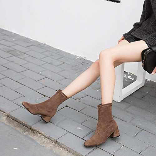 Shukun enkellaarsjes Women'S Boots lente en herfst enkele laarzen herfst dikke met korte laarzen vrouwelijke persoonlijkheid elastische doek sokken laarzen dunne laarzen