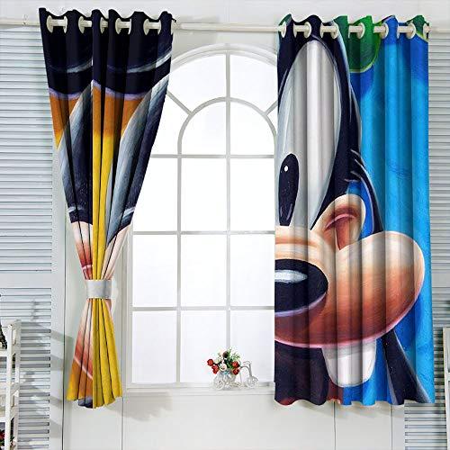 Mic-key Min-nie Mouse Cortinas para habitaciones infantiles, cortinas aisladas, oscurecimiento de habitación, cortinas opacas para ventana, 163 x 182 cm