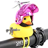 HORNTOP Duck Bike Bell,Rubber Duck Bicycle Horn with LED Light and Propeller Gun Helmet, Squeeze Horn Loud Sound,Car Dashboard Decorations & Bicycle Accessories (Metal Red)