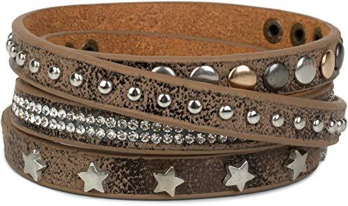 styleBREAKER Wickelarmband mit Strass, verschiedenen Nieten und Sterne, Armband, Damen 05040029, Farbe:Antik-Braun